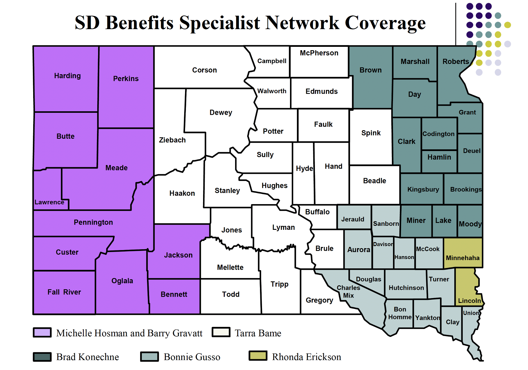 SDBSN Map showing Benefits Specialist coverage areas